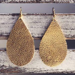 Jewelry - Gold Leather Drop Earrings